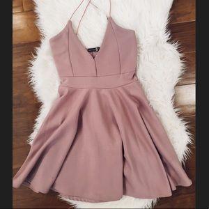 Mauve BOOHOO strappy mini dress